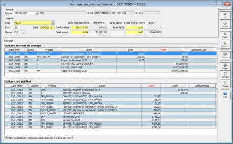 Logiciel comptabilité, Rapprochement bancaire, pointage des comptes financiers